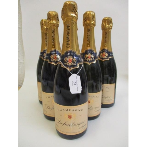 35 - Six bottles of Defontsayes Champagne, 6 x 75ml...