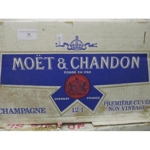 36 - Twelve boxed bottles of Moet & Chandon Champagne, non vintage...