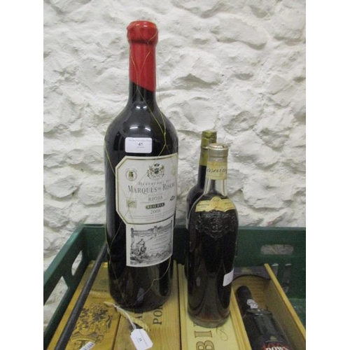 41 - A Jeroboam of Marques de Riscal Rioja 2008 and a 1959 Marsovin Malta etc...