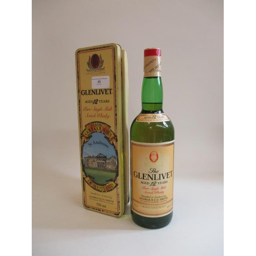 45 - Glenlivet aged 12 years, pure single malt Scotch Whisky in a St Andrew's presentation tin, 750ml...