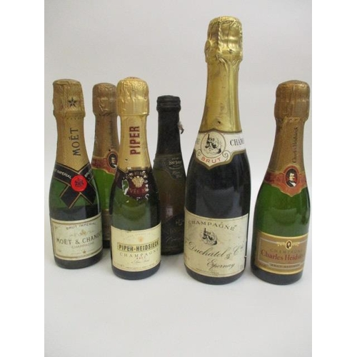 47 - Six small bottles of mixed Champagne to include Moet & Chandon and Piper-Heidsick and a bottle of Sc...