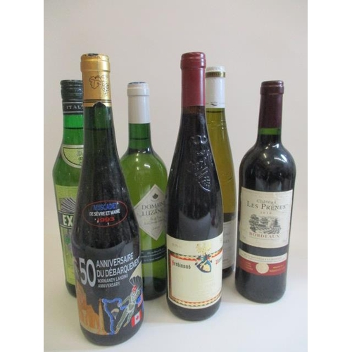 53 - Six mixed bottles to include a 2010 Bordeaux & Anniversary Muscadet...