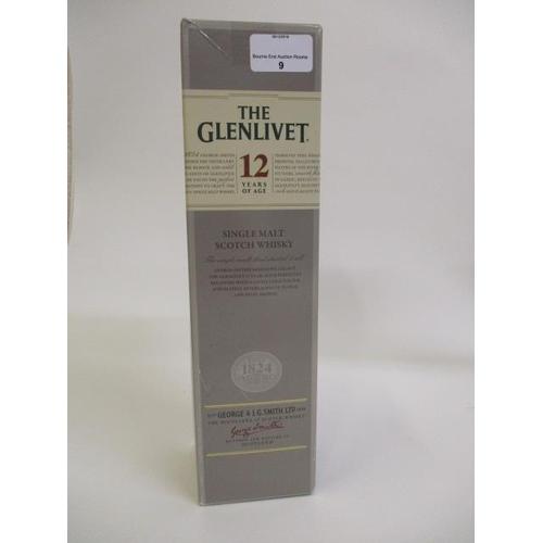 9 - A single boxed bottle of Glenlivet, 12 year old malt, 700ml...