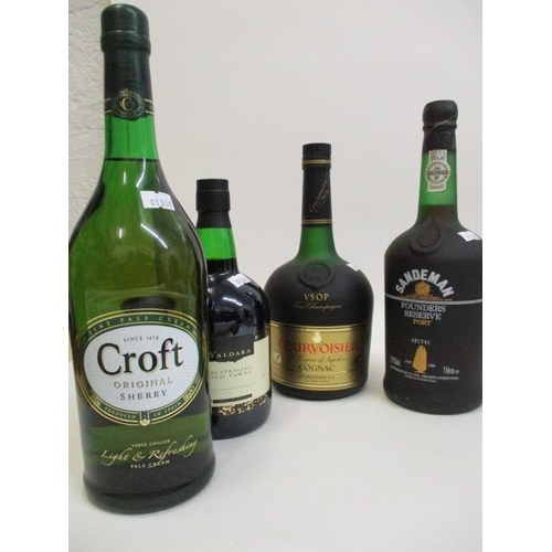 98 - A bottle of Courvoisier cognac 1lt and a bottle of Croft sherry, Old Tawny Port and one bottle of Sa...