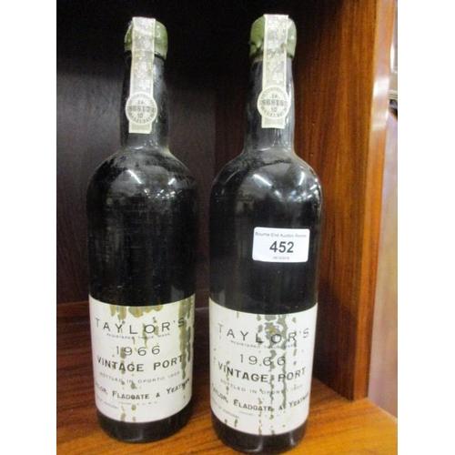 111 - Two bottles of Taylors 1966 vintage port, neckline...
