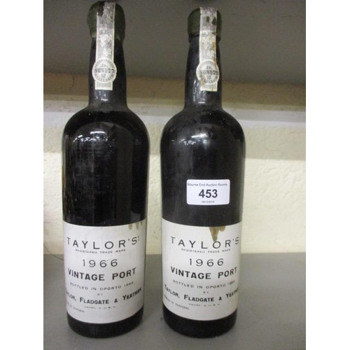 112 - Two bottles o f Taylors 1966 vintage port, neckline...