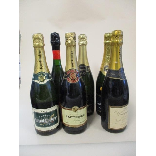 121 - Six bottles of mixed Champagne to include Taittinger 750ml...