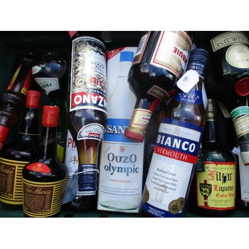 129 - A selection of eighteen bottles to include Ouzo, Cinzano Bianco etc...