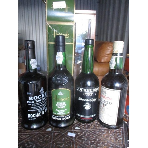 138 - Four bottles of mixed port to include Warres Nimrod, Cockburns and Dow...