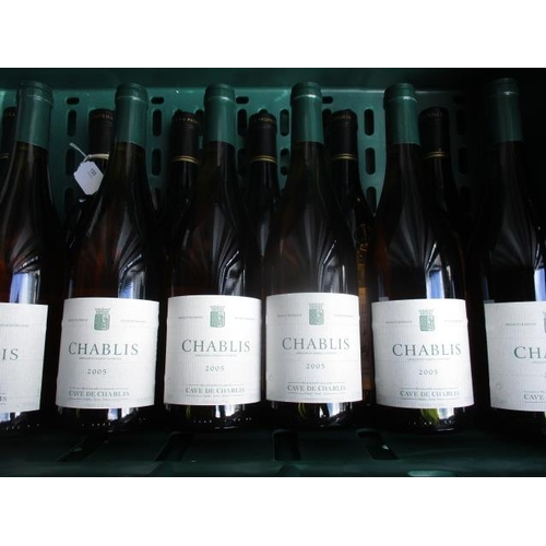130 - Six bottles of Chablis 2005 and six bottles of Chateaux neuf de pape, 2006...