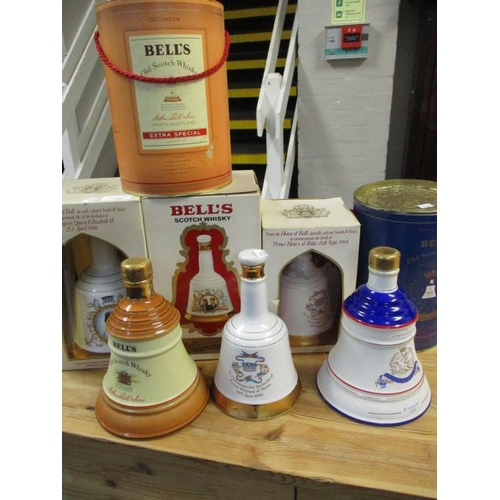141 - A collection of Bells Scotch Whisky decanters, Queens 60th Birthday, Marriage of Prince Andrew and S...