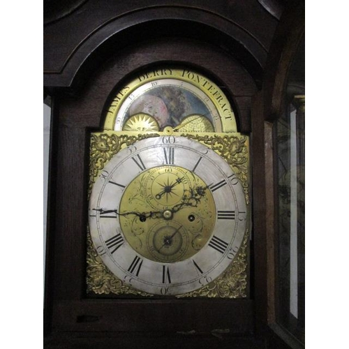 1 - A George III eight day, longcase clock by James Berry, Pontefract, striking on a bell, with painted,...