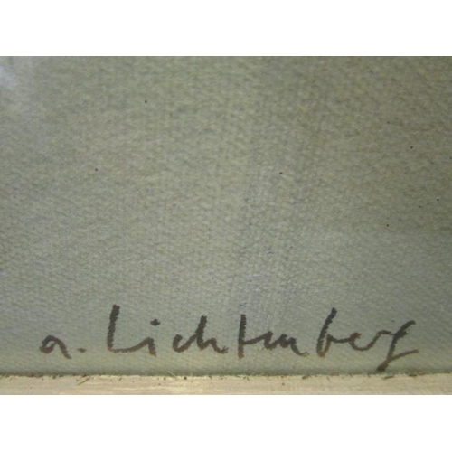 19 - A large glazed, framed print 'Andre Litchtenberg' on heavy, grained paper, printed in W Germany, 27