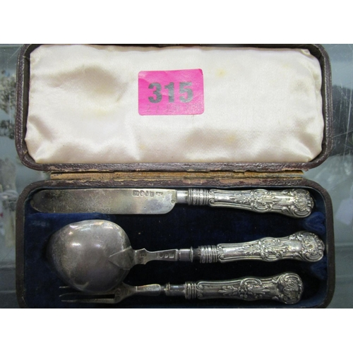 30 - A Victorian leather cased, silver three piece christening set, comprising a knife, a fork and spoon,...