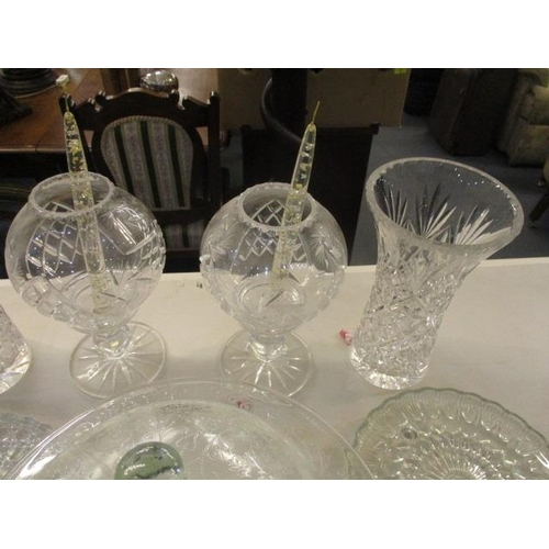 42 - Table glassware to include a pair of pedestal storm lamps, a pair of lidded pedestal bowls, a pair o...