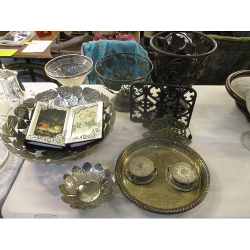 47 - Metalware to include pedestal urns with leaf decoration, a silver plated tray and coasters, a recipe...