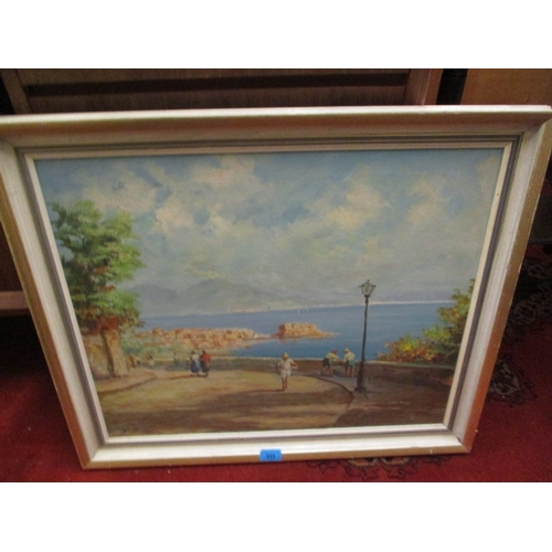 38 - S Cawthorn - Holiday Isle, oil on canvas depicting figures looking over water...