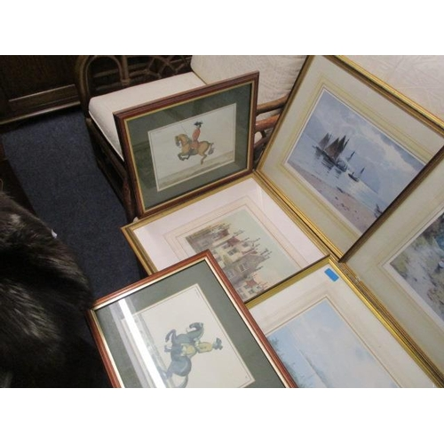 13 - A selection of framed and glazed prints to include studies of horses, urban scenes and water way sce...