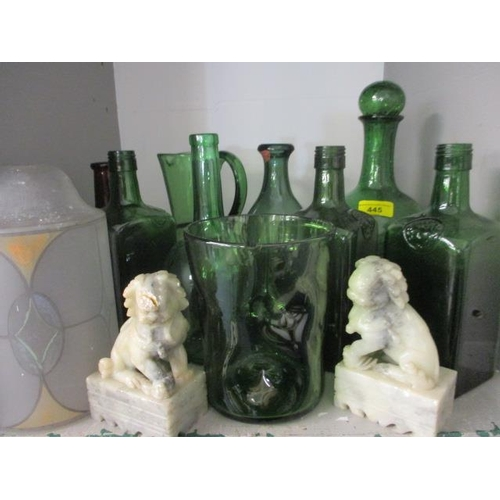 6 - Mid 20th century green glass to include a crackle glaze bottle and other glassware together with a p...