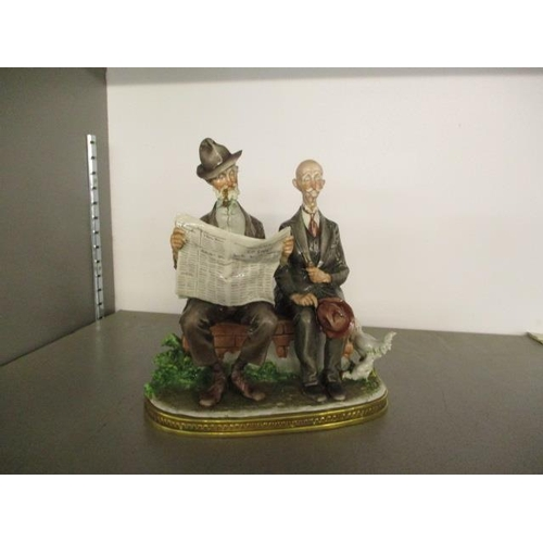 4 - A Giuseppe Cappe Italian Capodimonte figure entitled Two Old Men on a Wall, signed Gelle to the base...