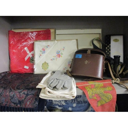 23 - A mixed lot to include a pair of binoculars, handkerchiefs, gloves and other items...