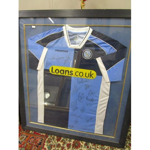 303 - A signed Wycombe Wanders football shirt, mounted in a glazed frame, frame 36 1/2