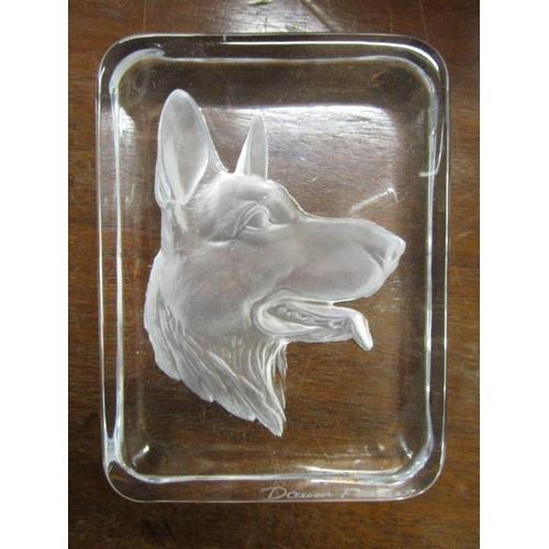22 - A Daum France art glass sculpture of a dolphin diving, 21 2/8