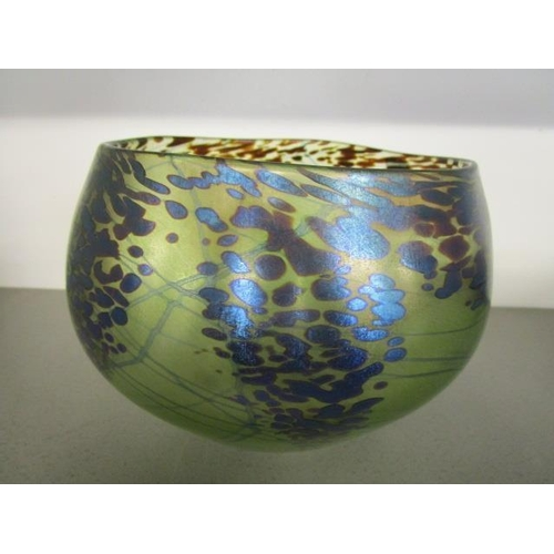 23 - Siddy Langley c 2002 - a studio glass vase decorated with metallic blue mottled flecks and internal ...