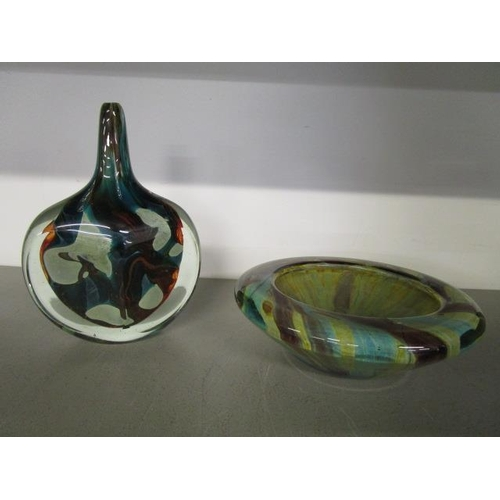 24 - Michael Harris, Mdina glass, a cut ice fish vase in turquoise, amber, blue and white coloured swirls...