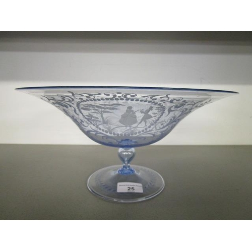 25 - A mid 20th century footed glass table centre bowl, blue tinted with engraved reserves of figures in ...