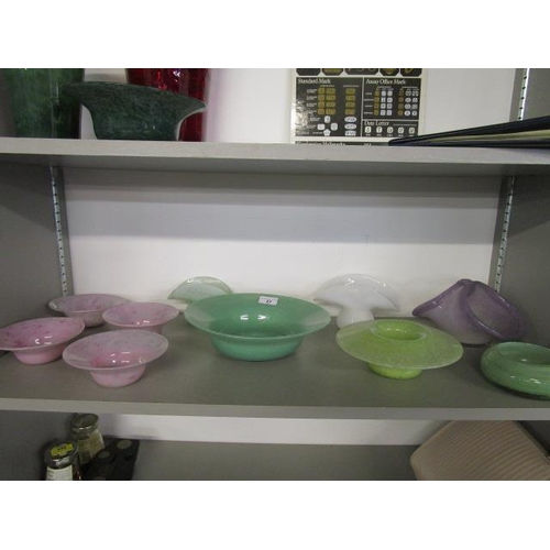 27 - A collection of Nazing glass bowls to include a green cloudy glass fruit bowl and a Scottish glass t...