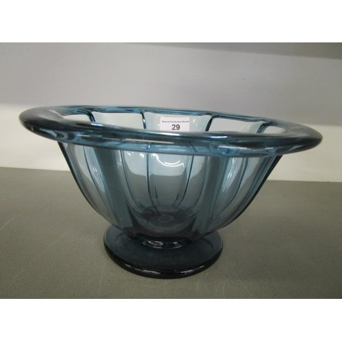 29 - Elis Bergh fl 1929-1950, for Kosta Boda, a light blue footed glass bowl with eight vertical optic ri...