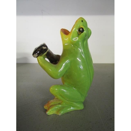 32 - Delphin Massier for Vallauris Pottery, a French faience model of a singing frog playing the mandolin...