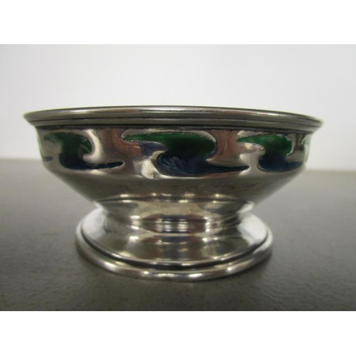 41 - William Hutton & Sons Arts & Crafts silver and enamelled footed bowl, with a continuous band of two ...