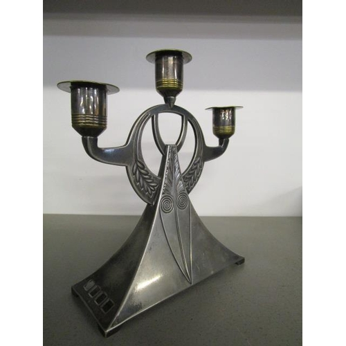 43 - A Jugendstil early 20th century WMF electro plated candle holder, pattern number 91...