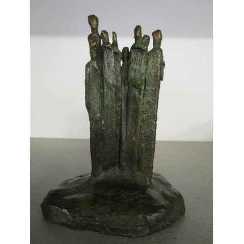 44 - A contemporary bronze sculpture of a group of figures, unsigned, 6 1/2