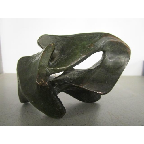 45 - A contemporary bronze abstract sculpture, unsigned, 5 1/8