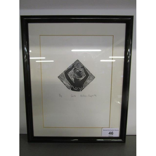 46 - Eileen Cooper RA b 1953, Solo, woodcut print, limited edition 7/15, signed and titled in pencil to t...