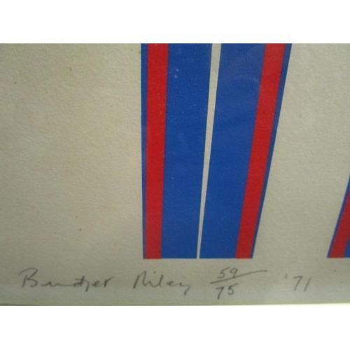 47 - Bridget Riley b 1951 - Elongated Triangles, circa 1971, screen print in colours, limited edition pri...