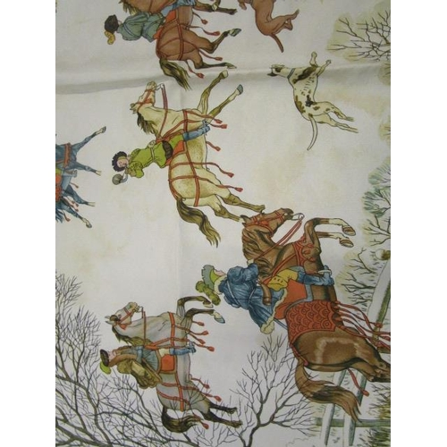 14 - Hermes - a 100% silk scarf, 'L'Hiver' by artist Philippe Ledoux in 1968,  depicting a white Winter h...
