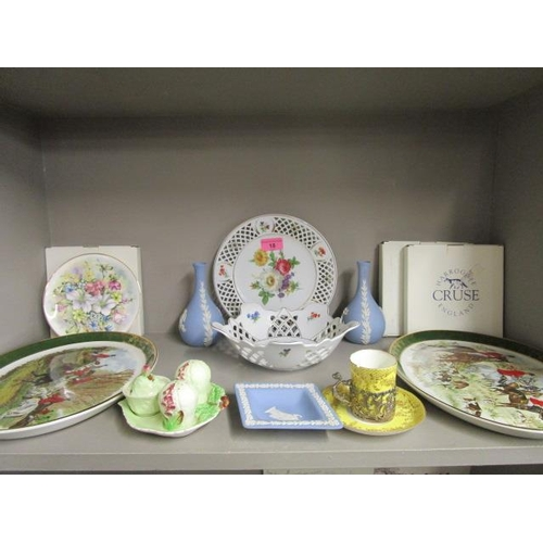 18 - A pair of Weatherly Royal  Falcon hunting scene plates, a Wedgwood blue Jasperware dish and a pair o...