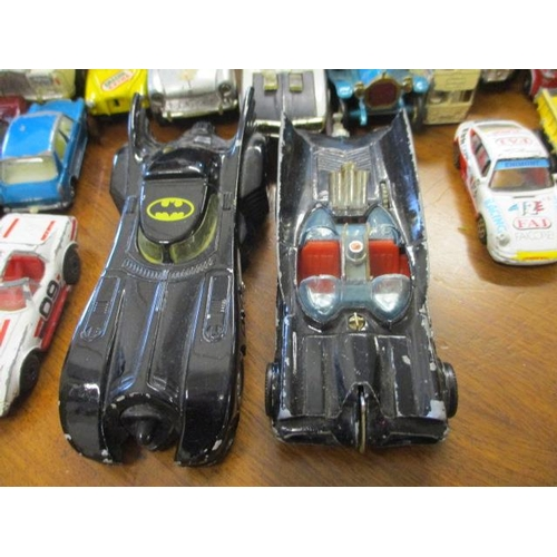 48 - A vintage Corgi Batmobile diecast vehicle and a late 1989 Ertl Batmobile, together with vintage and ...