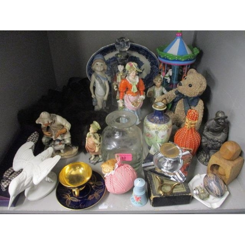 10 - Early to mid 20th century china figures, a modern music box in the form of a merry-go-round, mixed o...