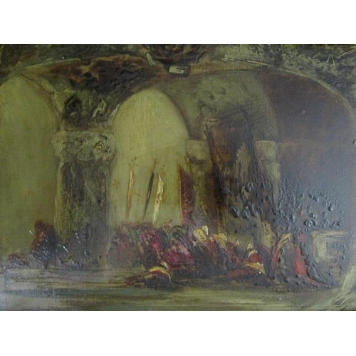 24 - Impressionist oriental scene -  figures seated under an arched roof, oil on artist board, 5 6/8