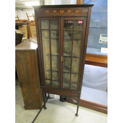 35 - An Art Nouveau inlaid mahogany corner cabinet on square tapering legs with spade feet, 64 2/8