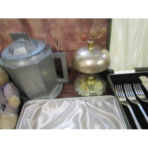 40 - A mixed lot to include a Victorian brass desk bell and a Youngs fishing reel and flies...