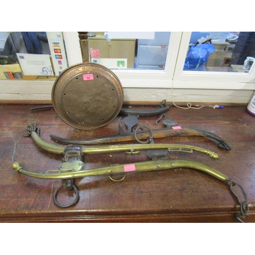 44 - Two pairs of Victorian horse's haines and a 19th century copper warming pan with turned wooden handl...