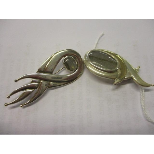 30 - Two silver and 9ct gold labradorite brooches, total weight 23.7g...