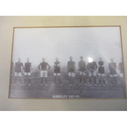 43 - A mixed selection of framed and glazed prints to include one of Burnley football team 1913-14, along...