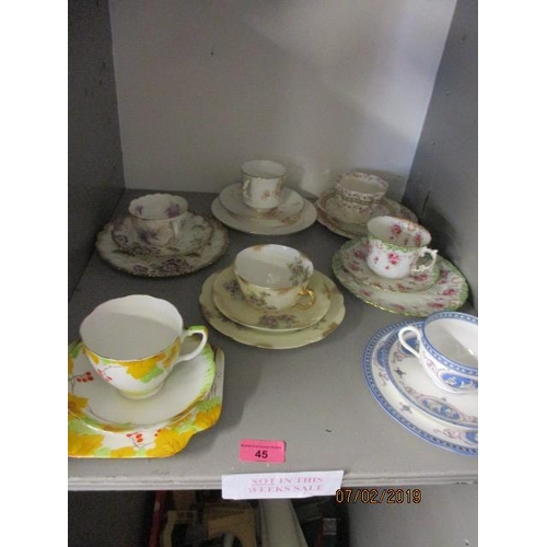 45 - Continental and English teacups and saucers...